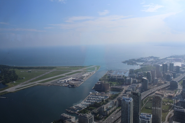 View from CN Tower- the small airport is on the left