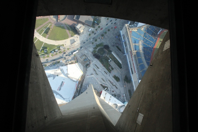View from the glass floor of the CN Tower-- look closely on the right to see the stadium