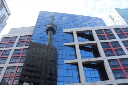 Reflection of the CN Tower in another building's windows