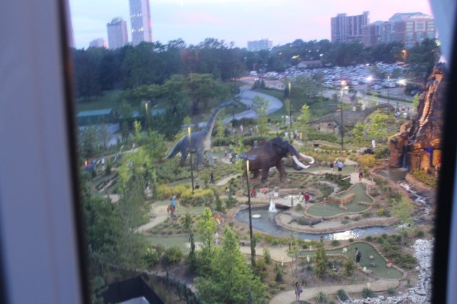 This is the mini-golf park right underneath the ferris wheel. The elephant? Unlike the Elvis, he's not real.