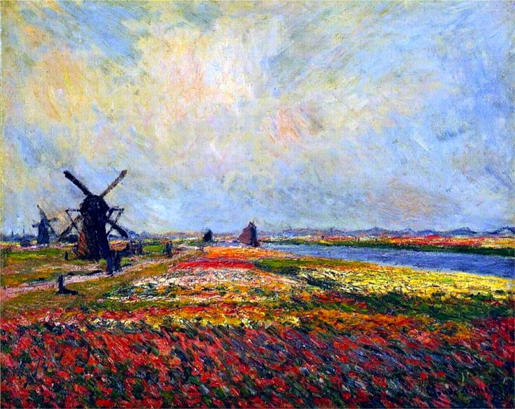 Fields of Flowers and Windmills near Leiden-Claude Monet