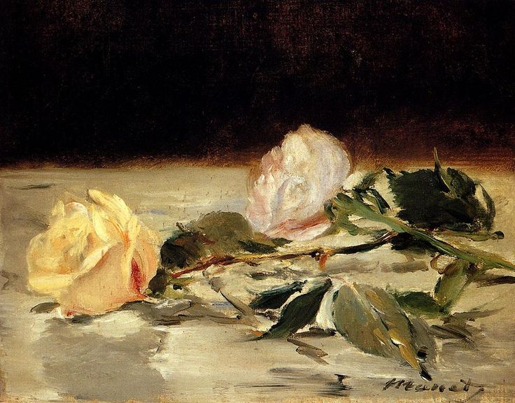 Manet-Two_Roses_on_a_Tablecloth