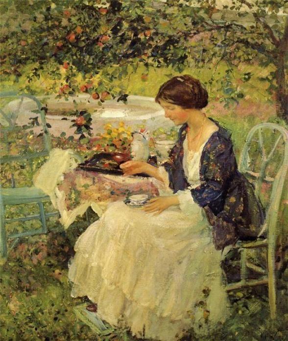 woman drinking tea in garden _ richard edward miller